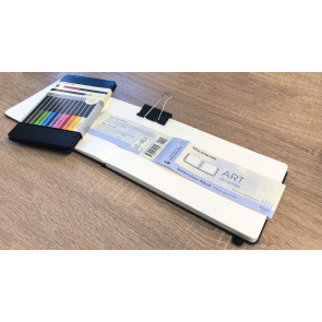 Large Watercolour Notebook Hardcover + Pencil Set 12pcs | Moleskine